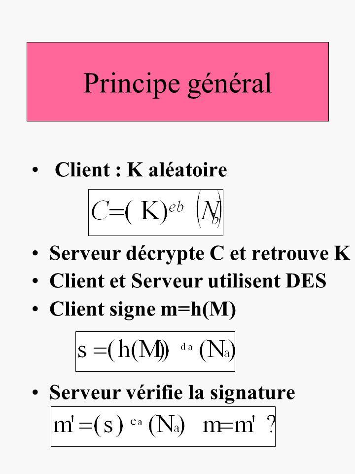 Principe général Client : K aléatoire Serveur décrypte C et retrouve K