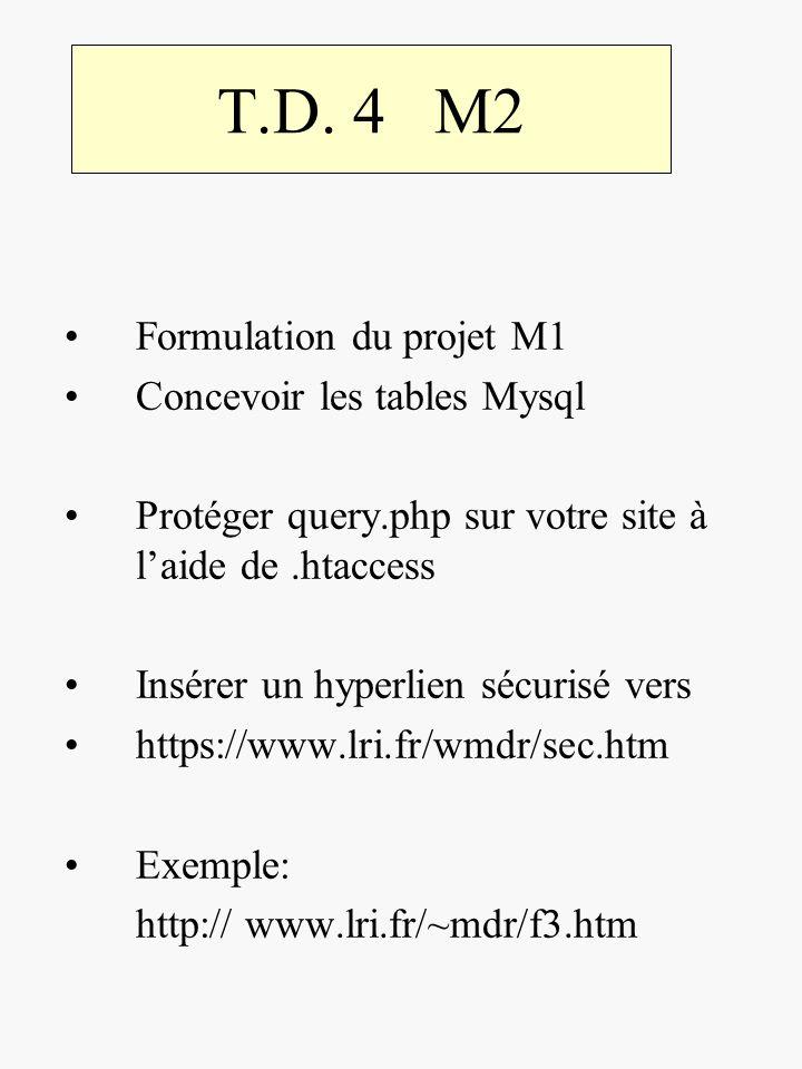 T.D. 4 M2 Formulation du projet M1 Concevoir les tables Mysql