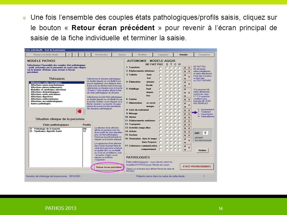 Une fois l'ensemble des couples états pathologiques/profils saisis, cliquez sur le bouton « Retour écran précédent » pour revenir à l'écran principal de saisie de la fiche individuelle et terminer la saisie.