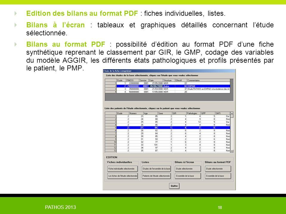 Edition des bilans au format PDF : fiches individuelles, listes.