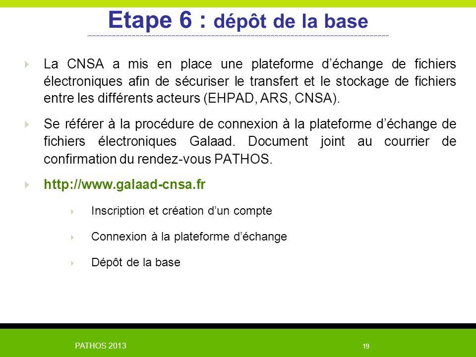 Etape 6 : dépôt de la base