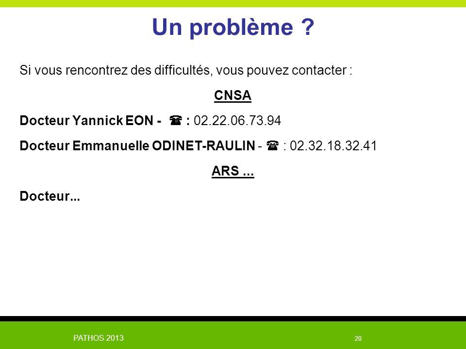 Un problème Si vous rencontrez des difficultés, vous pouvez contacter : CNSA. Docteur Yannick EON -  : 02.22.06.73.94.