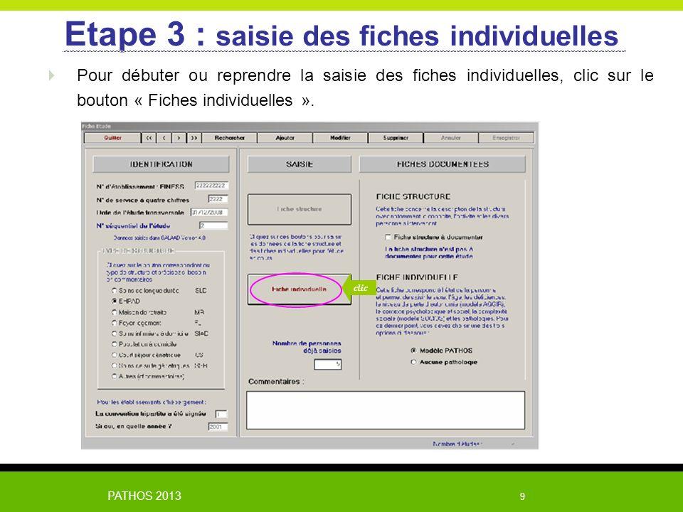 Etape 3 : saisie des fiches individuelles