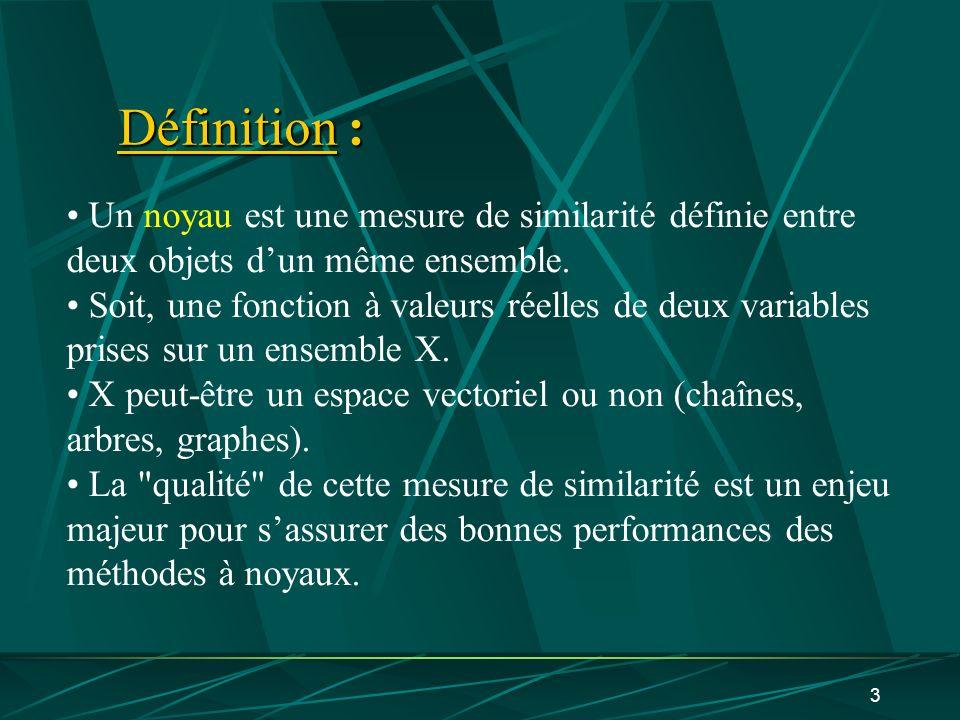 Définition : Un noyau est une mesure de similarité définie entre deux objets d'un même ensemble.