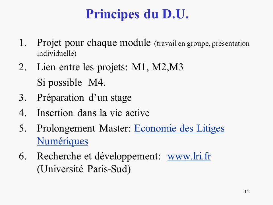 Principes du D.U. Projet pour chaque module (travail en groupe, présentation individuelle) Lien entre les projets: M1, M2,M3.