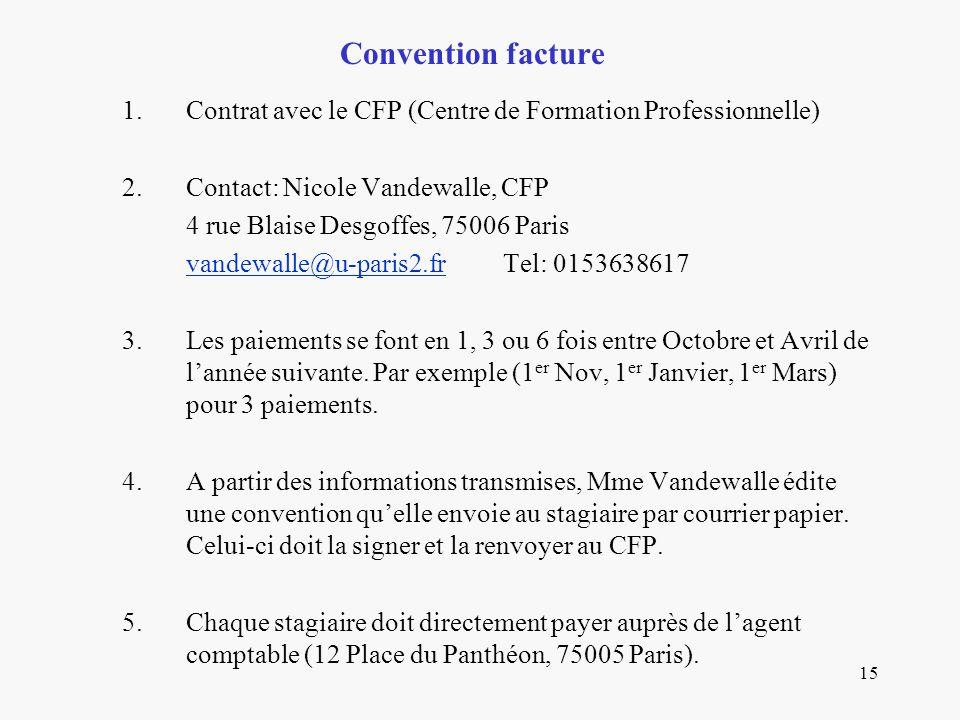 Convention facture Contrat avec le CFP (Centre de Formation Professionnelle) Contact: Nicole Vandewalle, CFP.