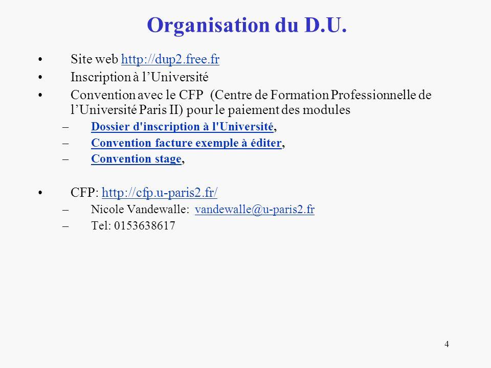 Organisation du D.U. Site web http://dup2.free.fr