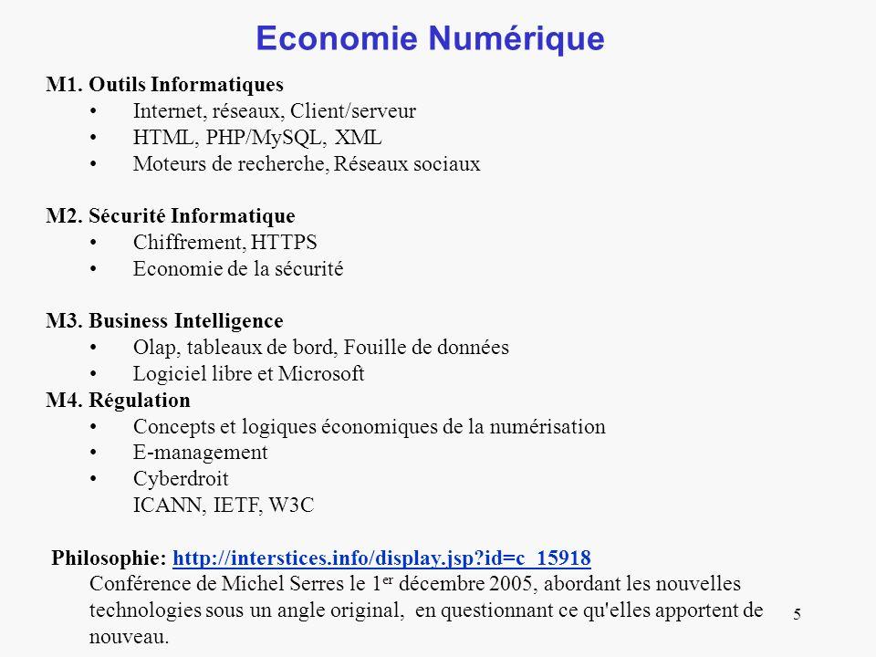 Economie Numérique M1. Outils Informatiques