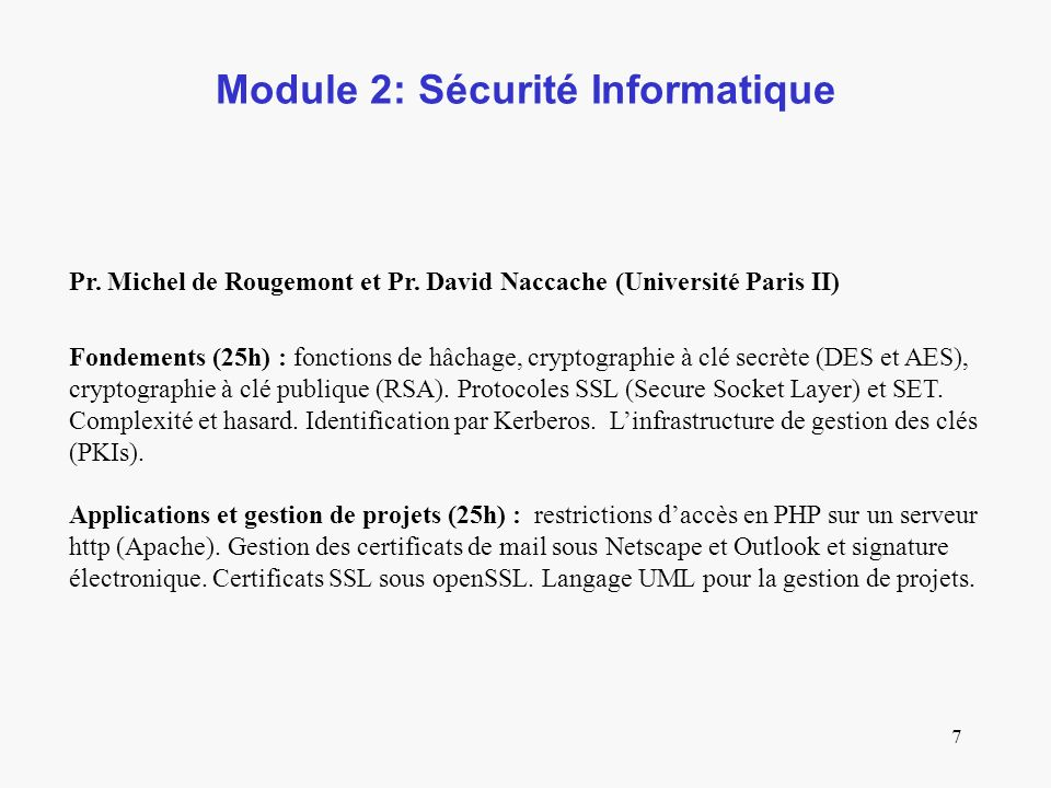 Module 2: Sécurité Informatique