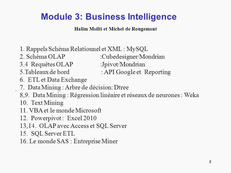 Module 3: Business Intelligence Halim Msilti et Michel de Rougemont