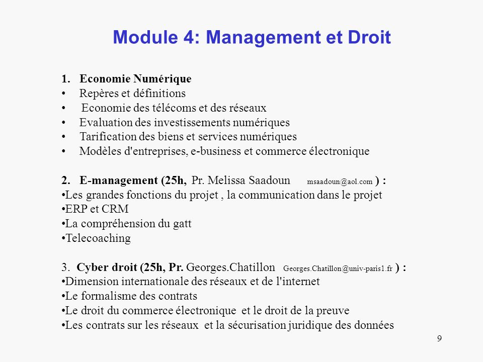 Module 4: Management et Droit