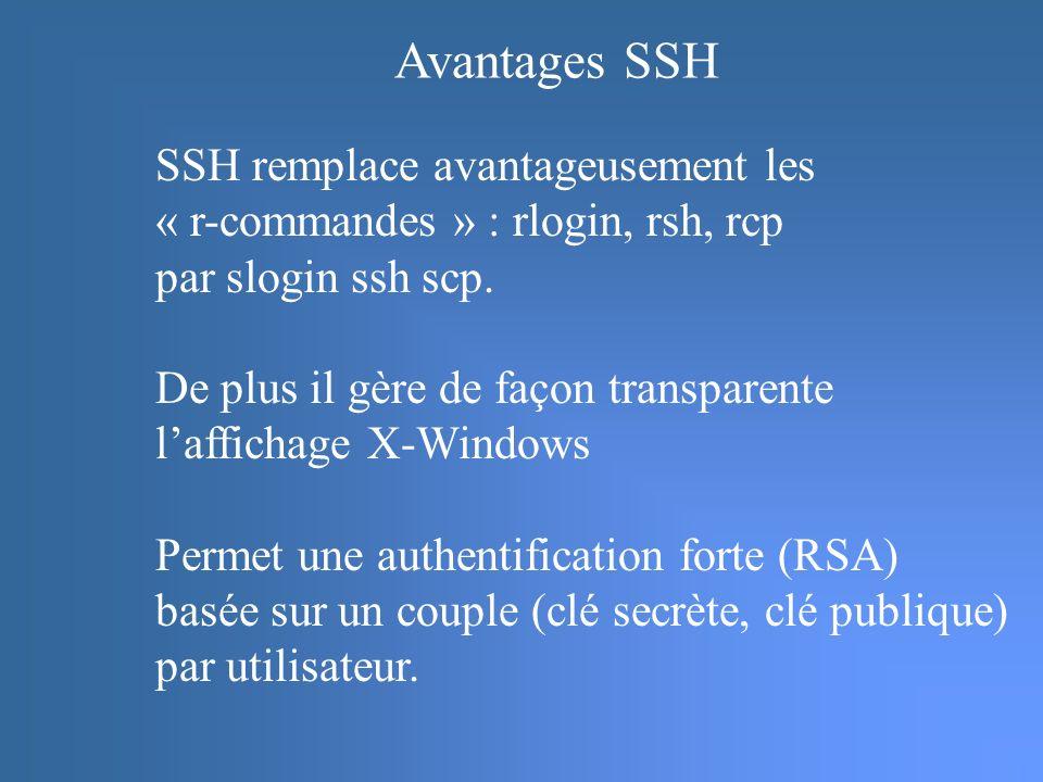 Avantages SSH SSH remplace avantageusement les