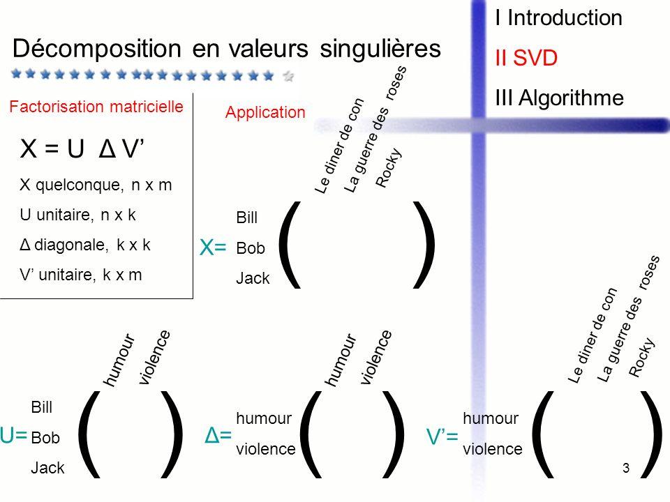 ( ) ( ) ( ) Décomposition en valeurs singulières X = U Δ V'