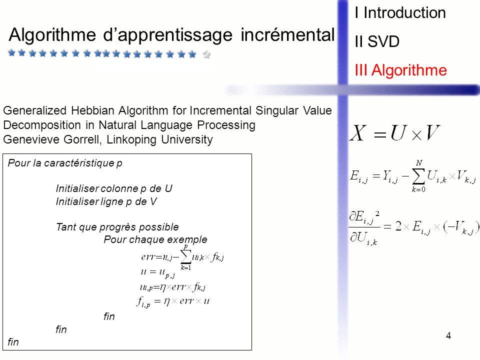 Algorithme d'apprentissage incrémental