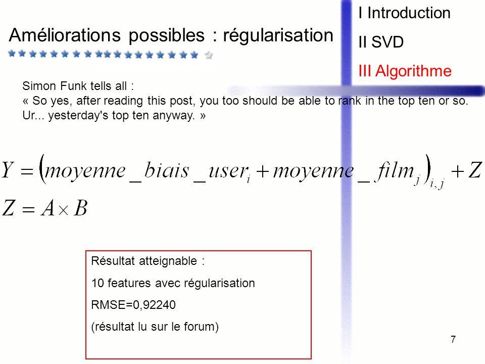 Améliorations possibles : régularisation
