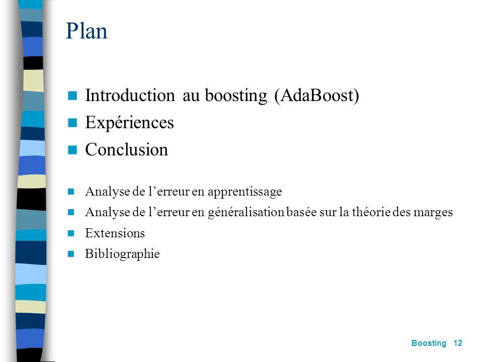 Plan Introduction au boosting (AdaBoost) Expériences Conclusion