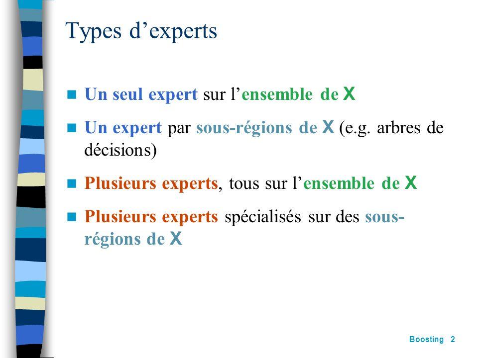 Types d'experts Un seul expert sur l'ensemble de X