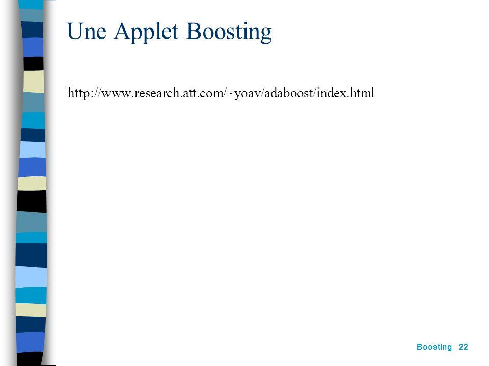Une Applet Boosting http://www.research.att.com/~yoav/adaboost/index.html