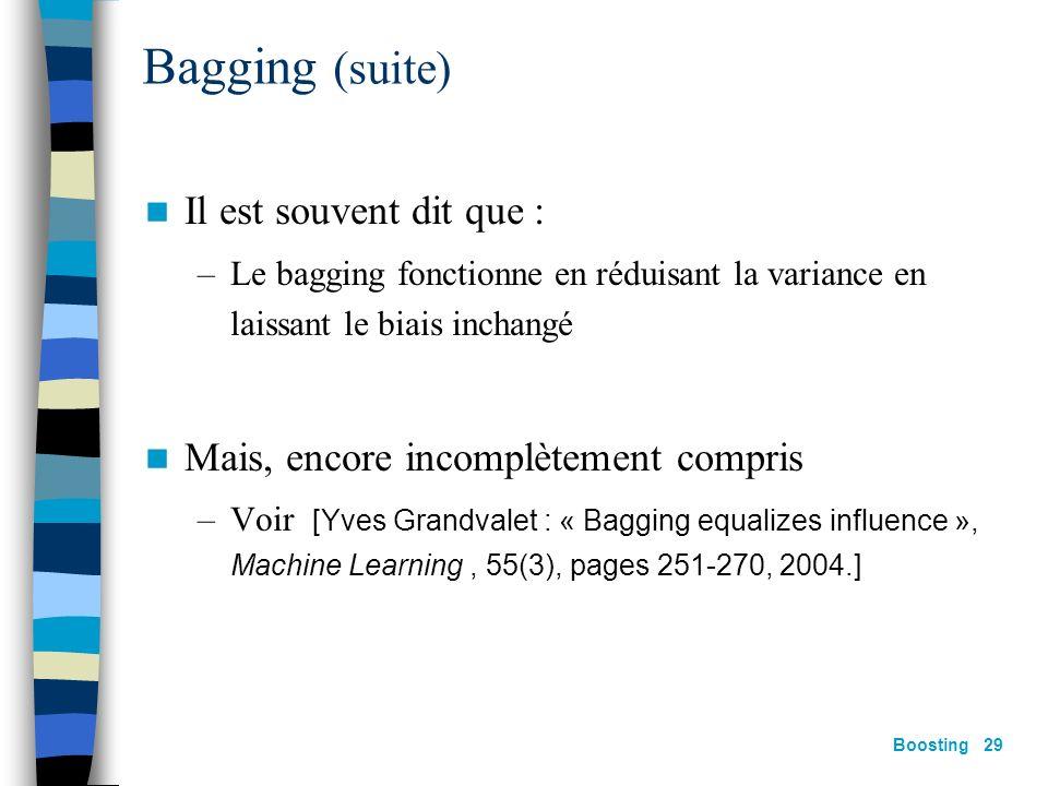 Bagging (suite) Il est souvent dit que :
