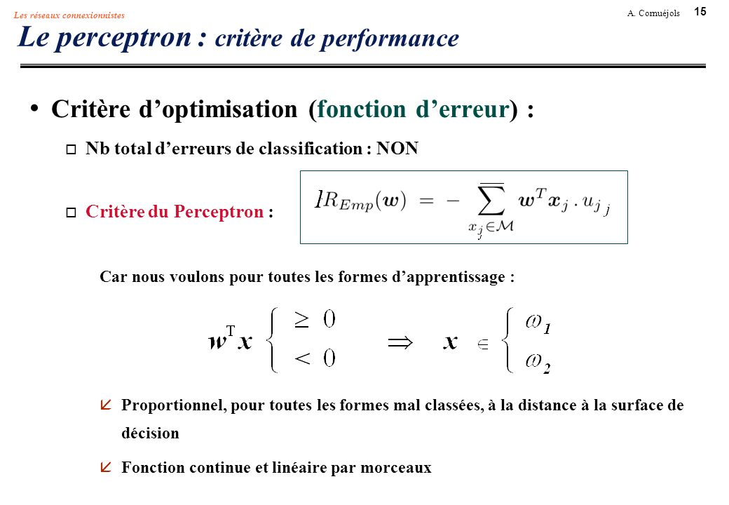 Le perceptron : critère de performance
