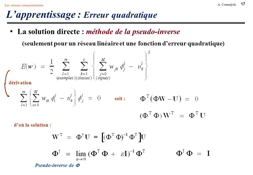 L'apprentissage : Erreur quadratique