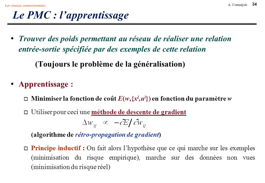 Le PMC : l'apprentissage