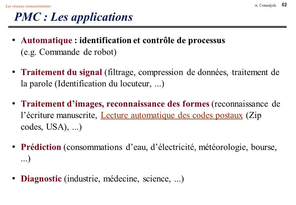 PMC : Les applicationsAutomatique : identification et contrôle de processus (e.g. Commande de robot)