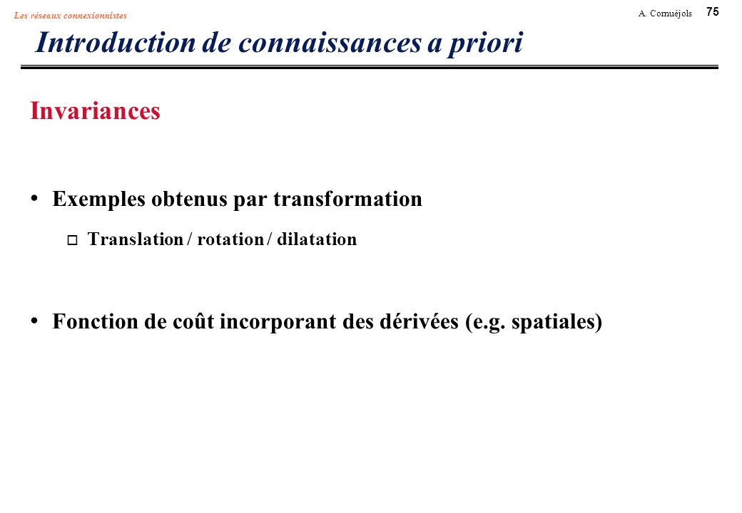 Introduction de connaissances a priori