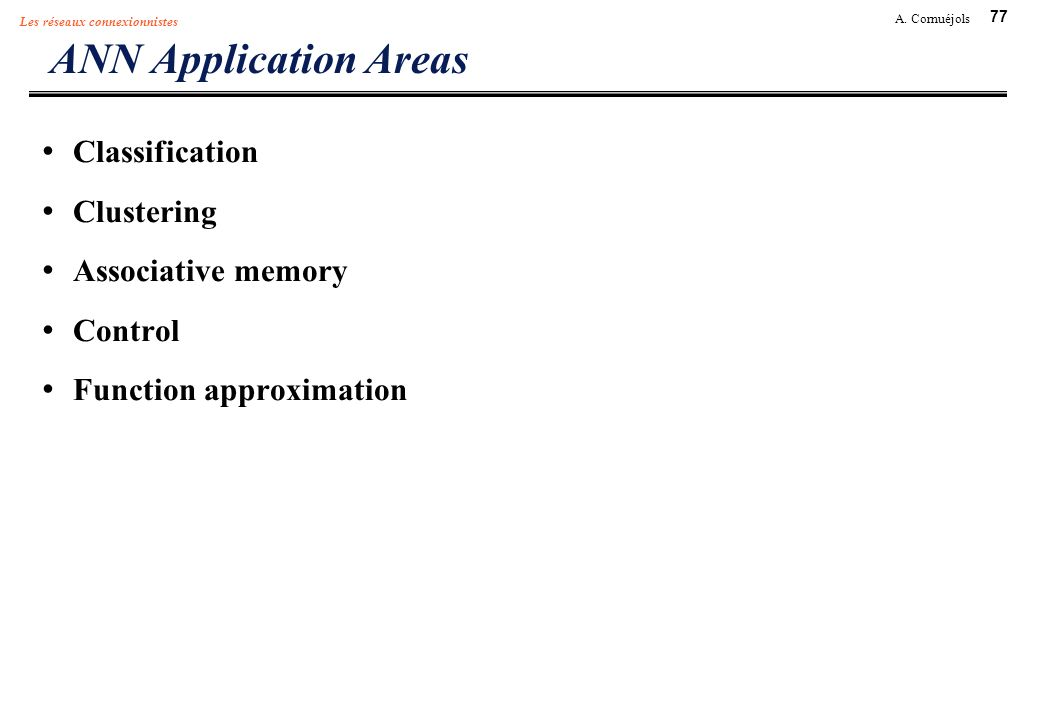 ANN Application Areas Classification Clustering Associative memory