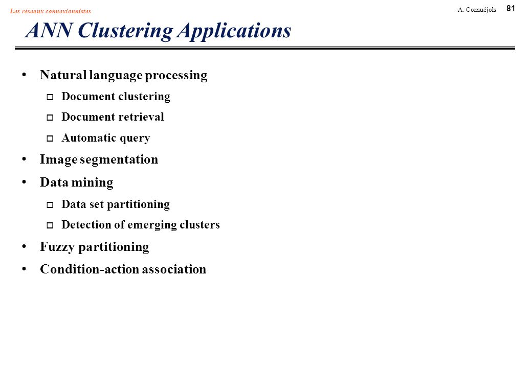 ANN Clustering Applications