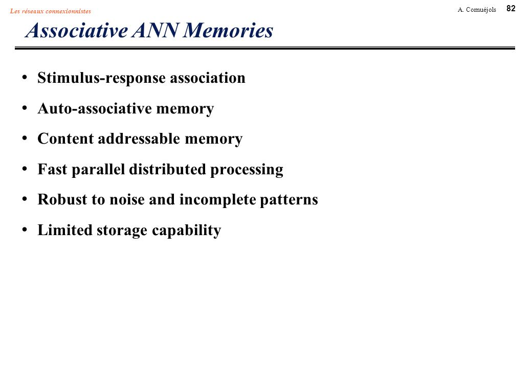 Associative ANN Memories