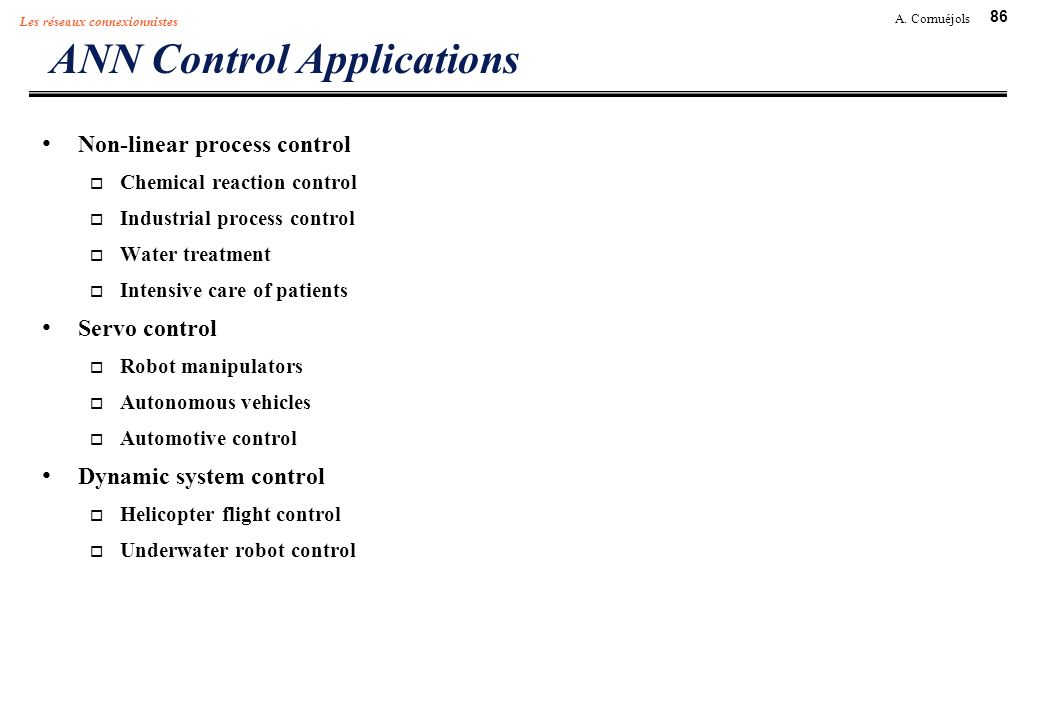 ANN Control Applications
