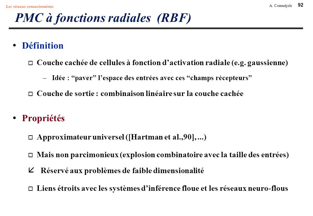 PMC à fonctions radiales (RBF)