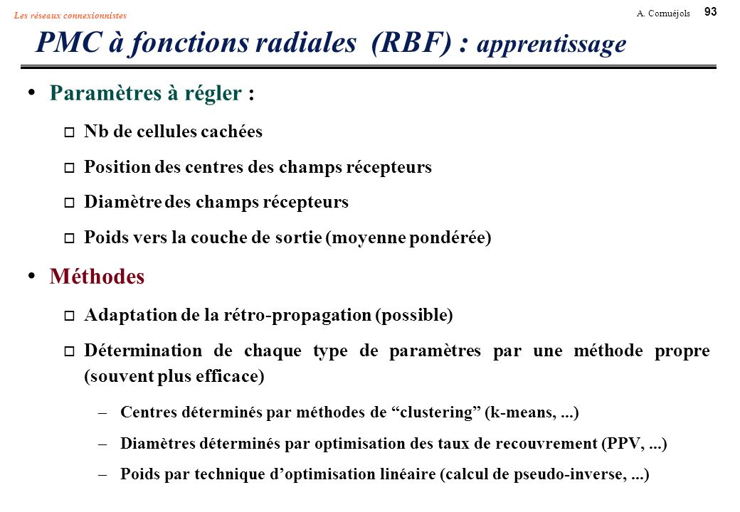 PMC à fonctions radiales (RBF) : apprentissage