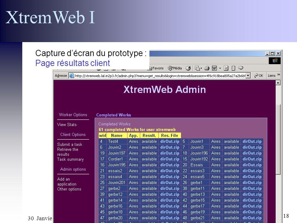 XtremWeb I Capture d'écran du prototype : Page résultats client