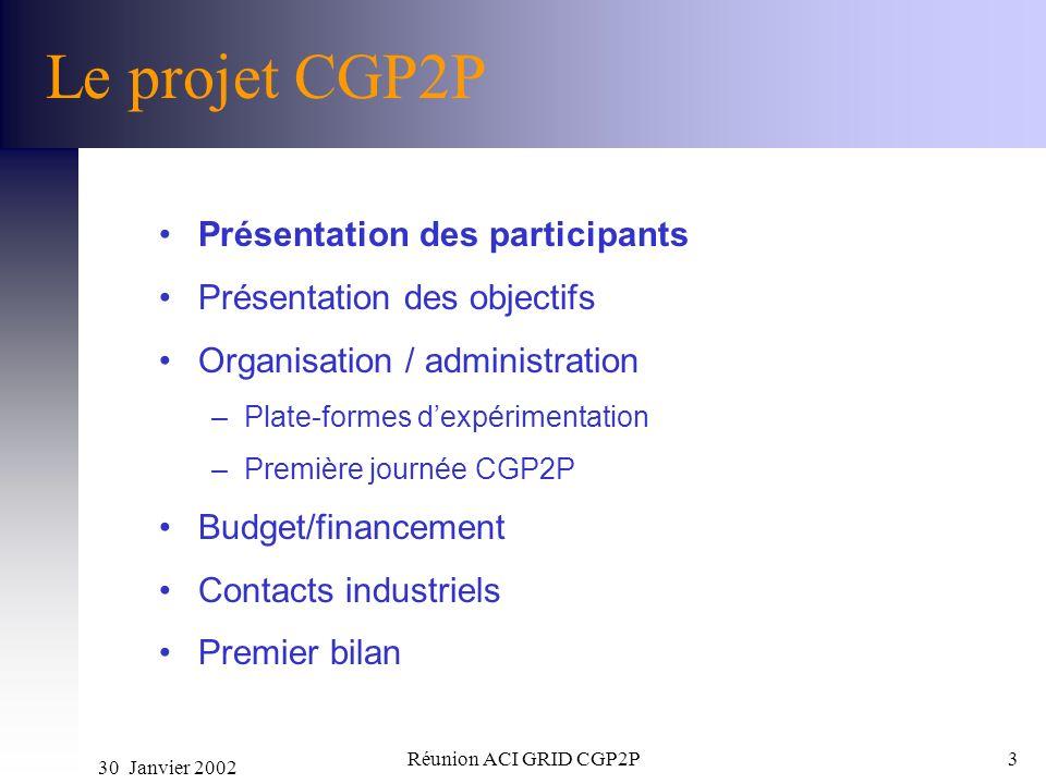 Le projet CGP2P Présentation des participants