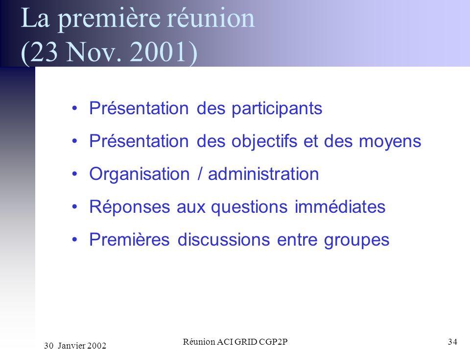 La première réunion (23 Nov. 2001)