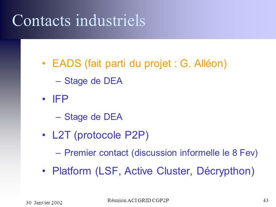 Contacts industriels EADS (fait parti du projet : G. Alléon) IFP