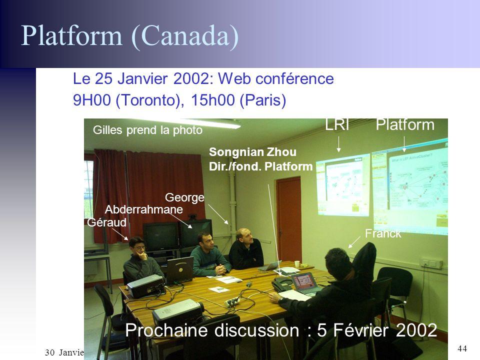 Platform (Canada) Prochaine discussion : 5 Février 2002