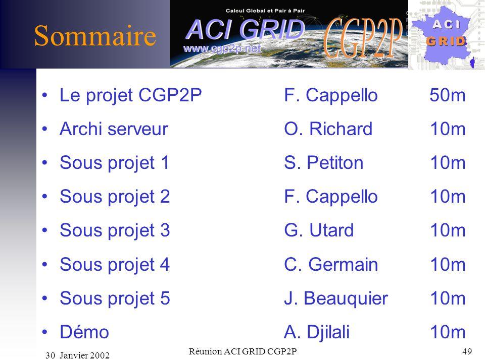 Sommaire Le projet CGP2P F. Cappello 50m Archi serveur O. Richard 10m