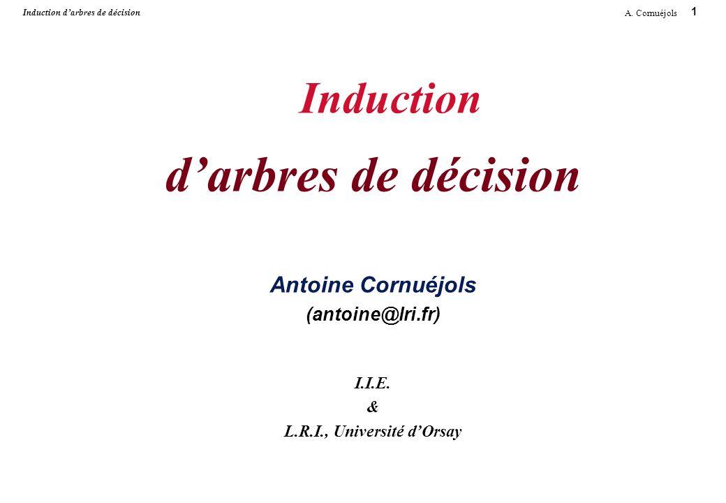 Induction d'arbres de décision Antoine Cornuéjols (antoine@lri. fr) I
