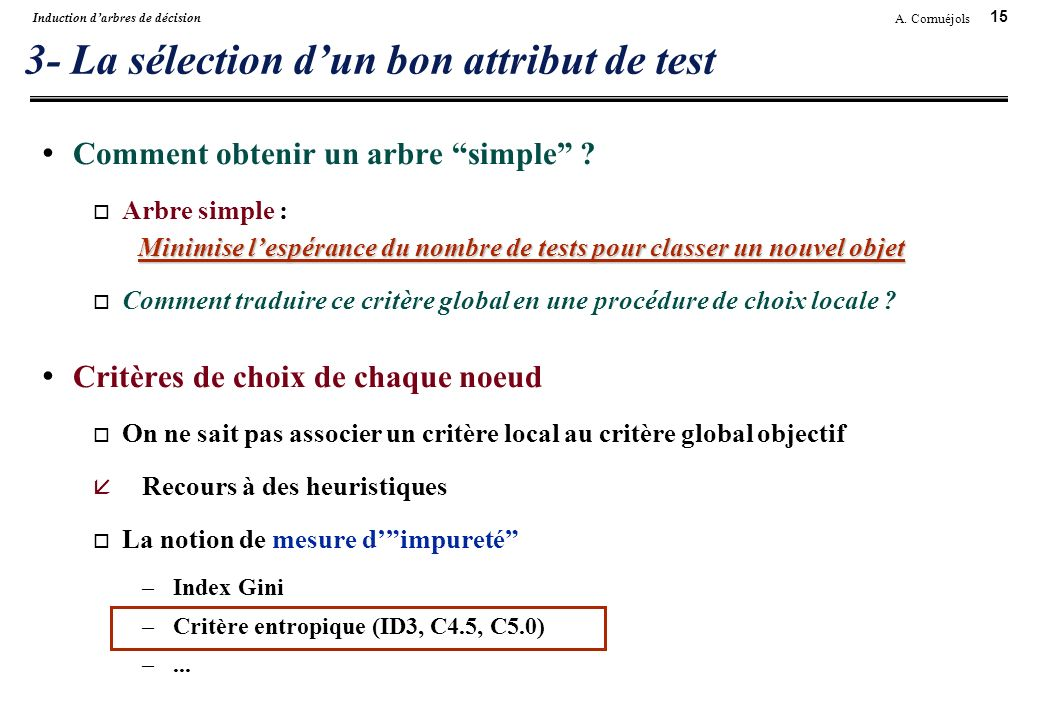 3- La sélection d'un bon attribut de test