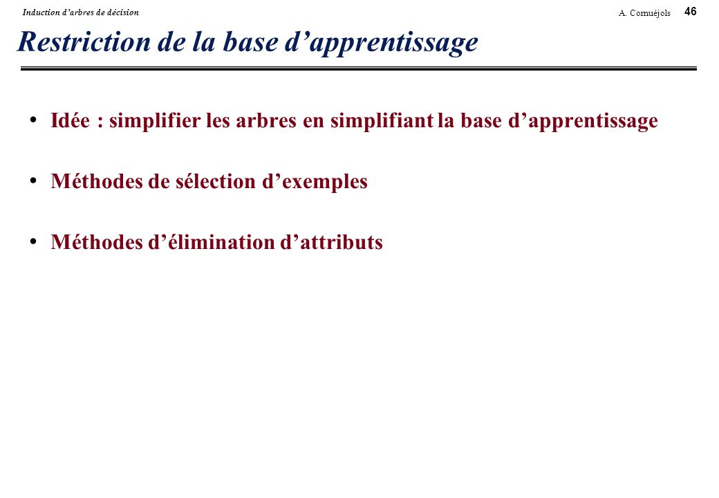 Restriction de la base d'apprentissage