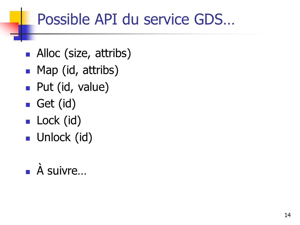 Possible API du service GDS…