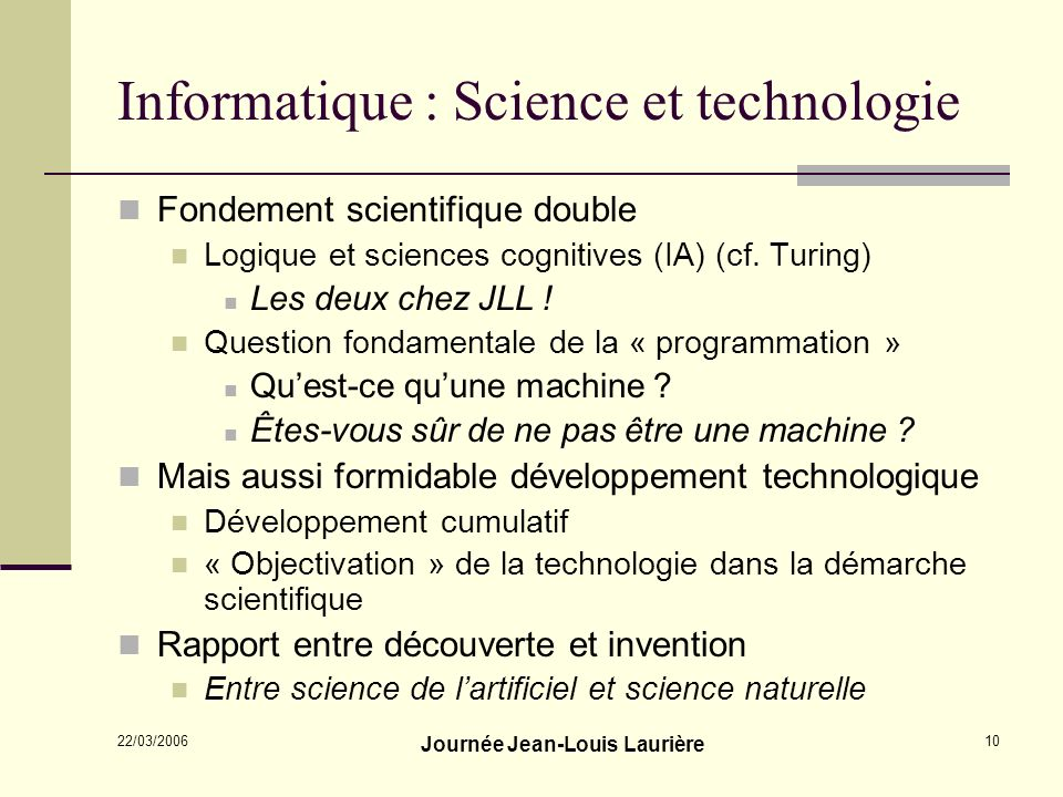 Informatique : Science et technologie