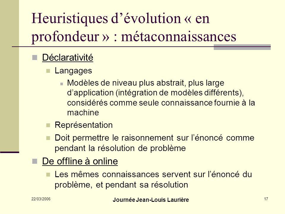 Heuristiques d'évolution « en profondeur » : métaconnaissances