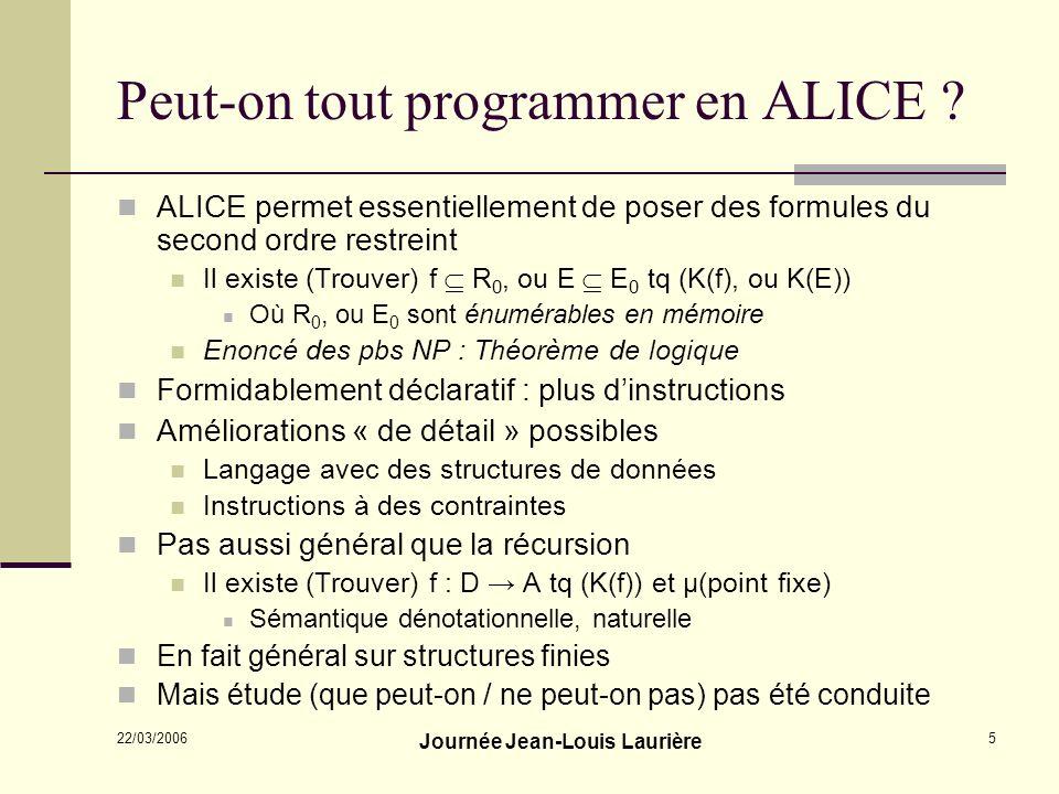 Peut-on tout programmer en ALICE