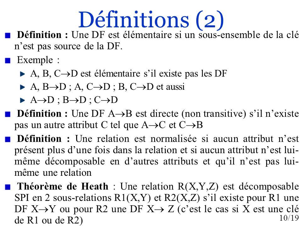 Définitions (2) Définition : Une DF est élémentaire si un sous-ensemble de la clé n'est pas source de la DF.