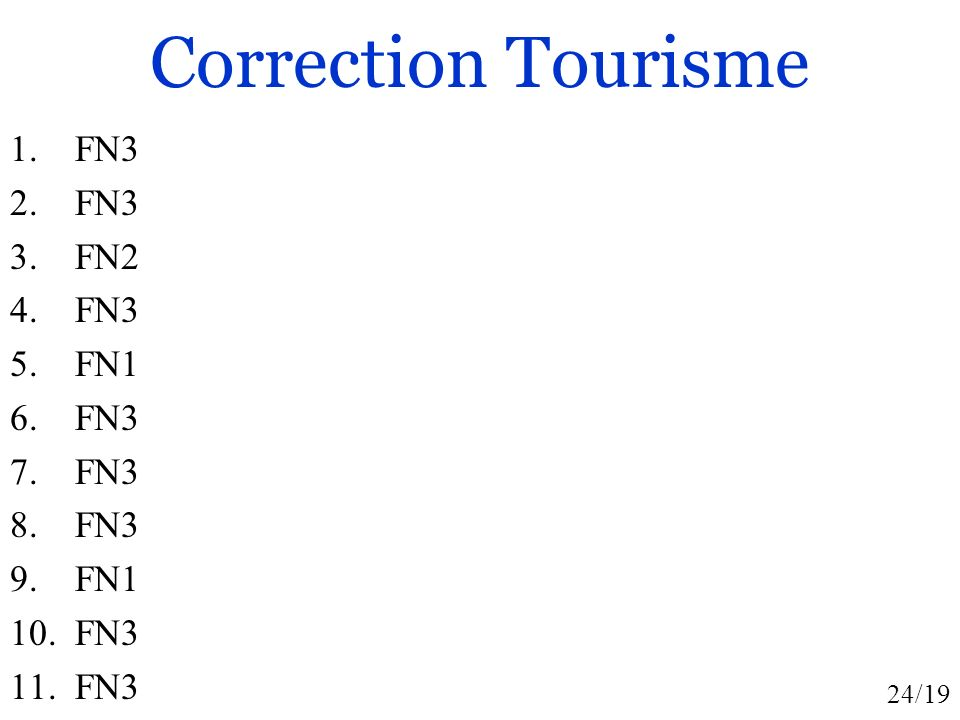 Correction Tourisme FN3 FN2 FN1