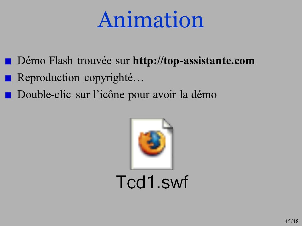 Animation Démo Flash trouvée sur http://top-assistante.com